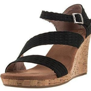 Toms Shoes - NEW TOMS ORIGINAL BLACK CLARISSA STRAPPY WEDGES